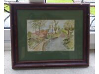 WATER COLOURED PAINTING OF A FORD/RIVER SIGNED