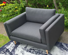 2 x New Debenhams Slate Grey Fabric Material Snuggle Arm Chairs.