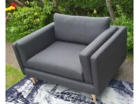 2 x New Designer Slate Grey Fabric Material Snuggle Arm Chairs.