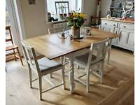 Vintage oak barley twist draw leaf table and 4 chairs