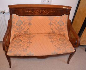 Stunning love seat, incredible inlay, made in Spain purchased in Singapore