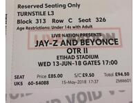 Two FACE VALUE tickets to Jay z and Beyoncé in Manchester 13th June!!