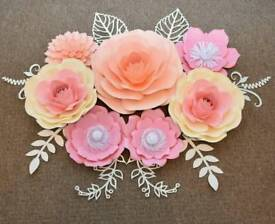 7pcs set of paper flowers for nursery decor