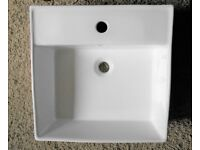 New/Unused Square Counter Top Basin. White, Porcelain, 1 Tap Hole. No Box