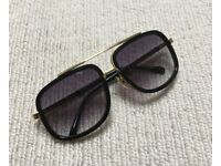 Black Gold Gradient Aviator Pilot Sunglasses