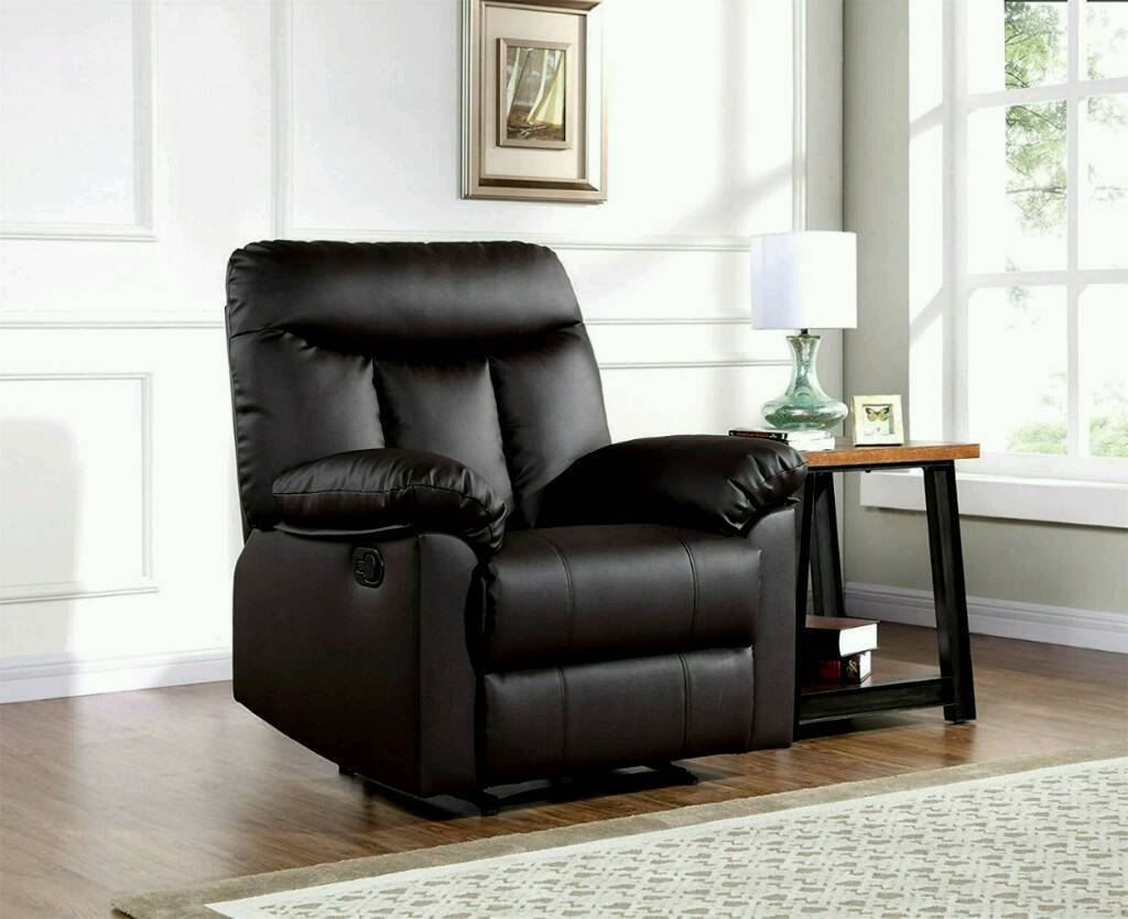 black reclining chair mint condition comes apart for easy transporting bargain
