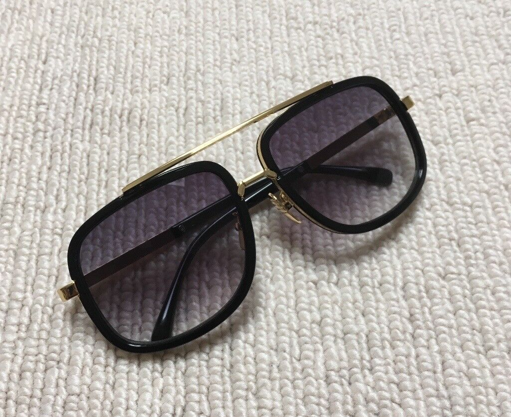 13b88111215 Black Gold Gradient Aviator Pilot Sunglasses