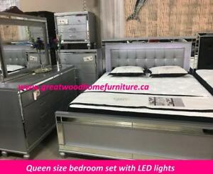SOLID WOOD 6 PIECE BEDROOM SET WITH LED LIGHTS ...$1699 ONLY