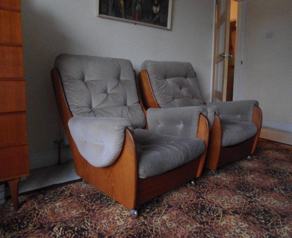 Pair of vintage mid century 1960s 70s g plan teak for Vintage 70s chair