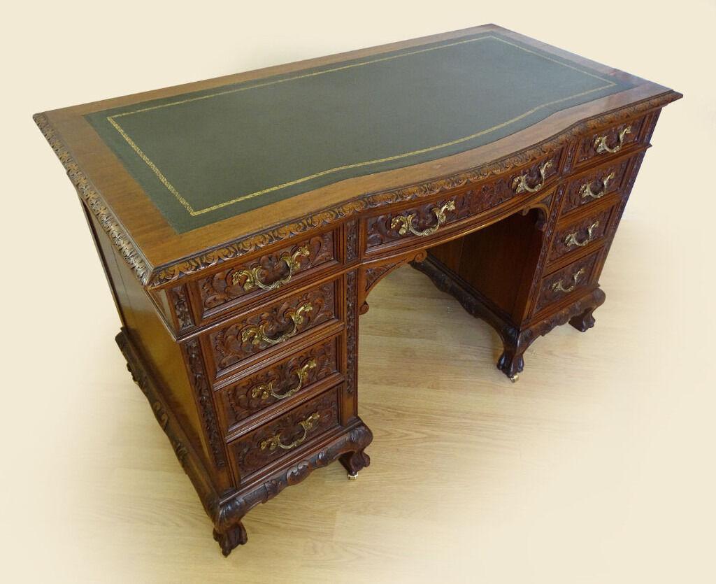 genuine antique carved solid wood desk stunning original condition delivery
