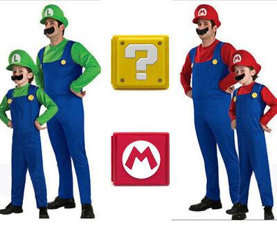 Erwachsene&Kinder Cosplay Super Mario Luigi Brothers Klempner Herren Kostüm DE
