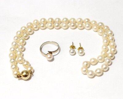 Perlen Schmuckset, Kette Ring und Ohrstecker, 585er Gelbgold
