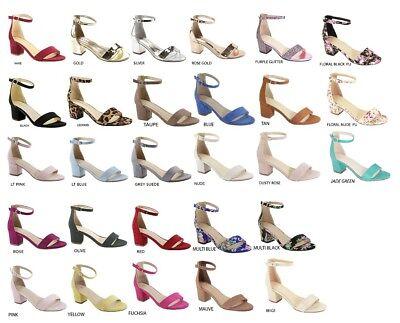New Womens Ankle Strap Mini Mid Low Chunky Block Heel Open Toe Pump Sandal Shoes Ankle Strap Mini Heels