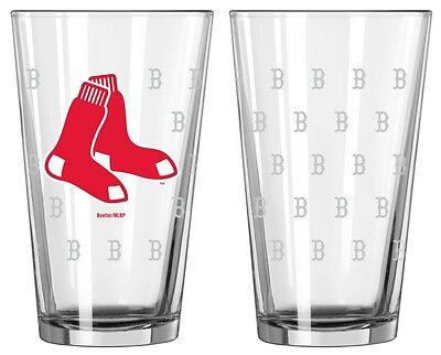 Boston Red Sox Satin Etch Pint Glass Set of 2 [NEW] MLB Drink Bar Cup Mug 16oz