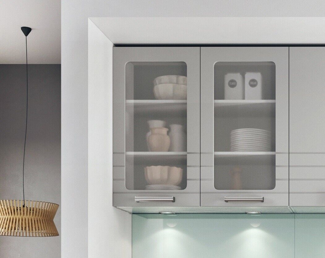 Light Grey Kitchen Wall 80cm 800mm Unit Cabinet Cupboard Glass Matt Doors Paula 5901997892232 Ebay