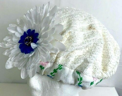 Vintage 60s Cloche Womens Hat Beret Terry Cloth Ribbed Floral Jewel Embellished
