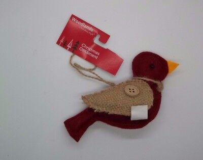 Christmas Tree Hanging Red Bird Ivory Burlap Wings Ornament #101