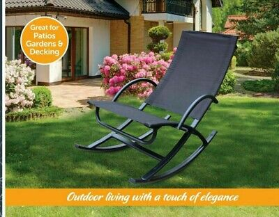 Zero Gravity Rocker Chair Garden Sun Lounger Outdoor Living Patio Decking Porch