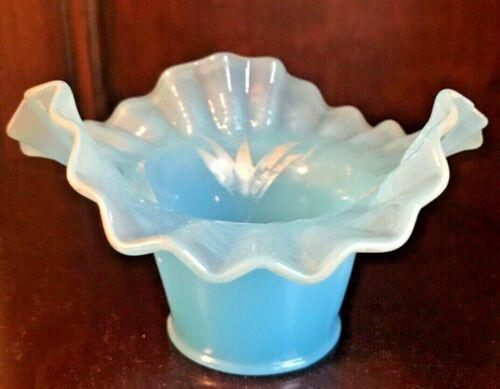 Vintage Turquoise Blue Milk Glass Ruffled Edge Dish Bowl Basket