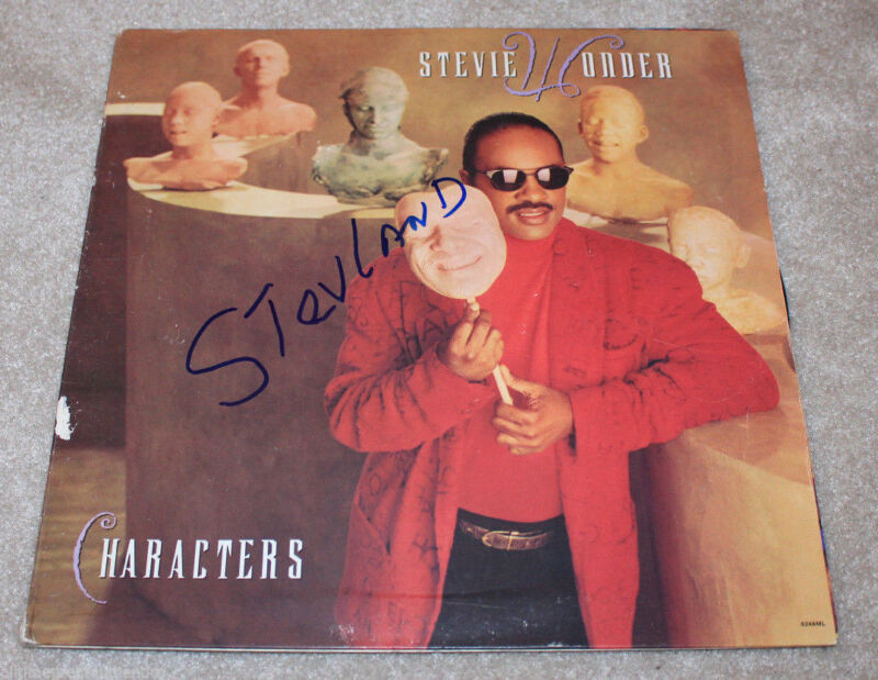 STEVIE WONDER SIGNED AUTHENTIC 'CHARACTERS' RECORD ALBUM LP w/COA PROOF MOTOWN
