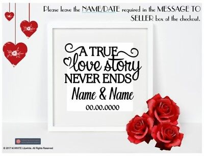 A True Love Story Never Ends - Vinyl sticker for box frame - add name and date - A True Love Story Never Ends