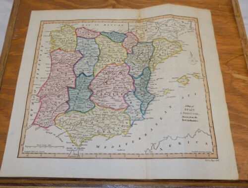 1817 Antique COLOR Map///SPAIN AND PORTUGAL