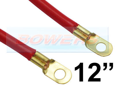 """12"""" INCH 300mm CAR BATTERY RED POSITIVE STARTER LEAD CABLE WIRE STRAP"""