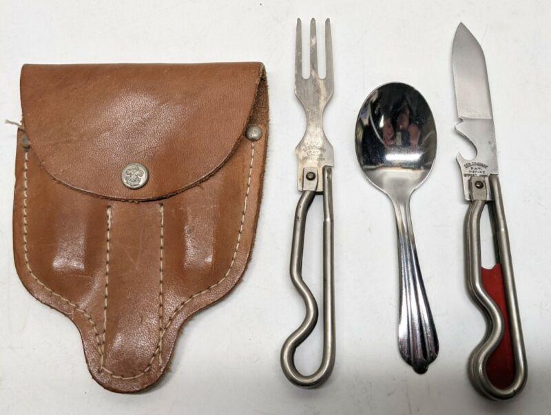 "1942 Schrade Boy Scouts of America Knife Fork Spoon Leather Sheath ""Vitel Kit"""