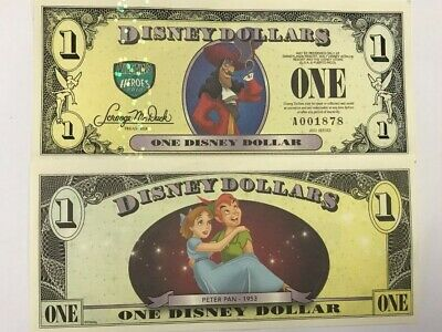 Disneyland 2013 Villains & Heroes Captian Hook One $1 Disney Dollar Mint A001694 - Captian Hook