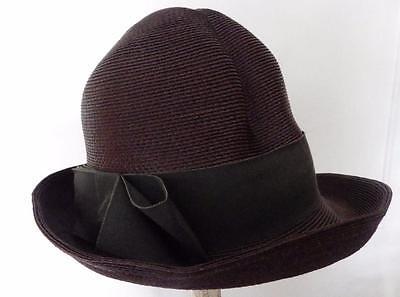 Vintage Donna Marle Chapeau Originals Brown Straw Hat Upturned Brim High Crown