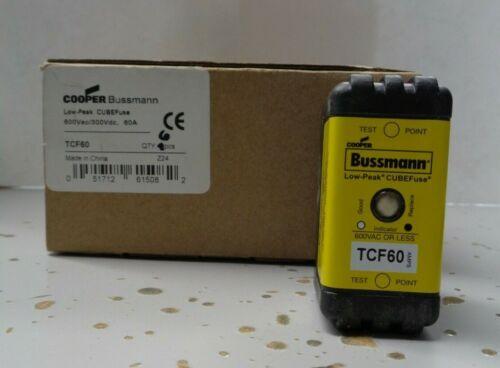 New Bussmann TCF 60 60 Amps Dual-Element Cube Fuse Current Limiting 600 Volts