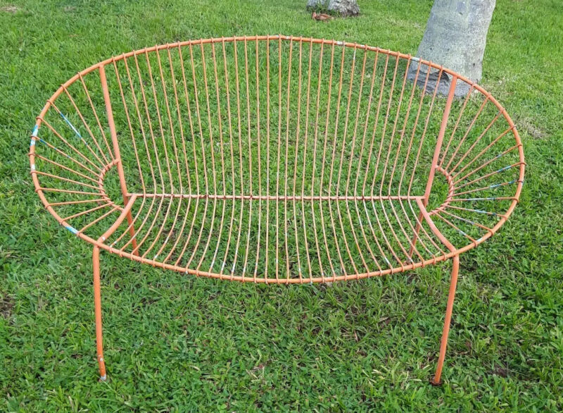Mid Century Modern Curved Iron Patio Bench Settee Woodard Era 1960s