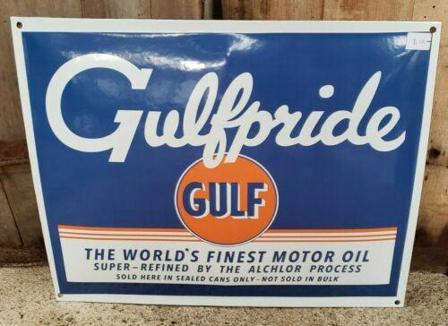 Porcelain Gulfpride Gulf Motor Oil Advertising Sign