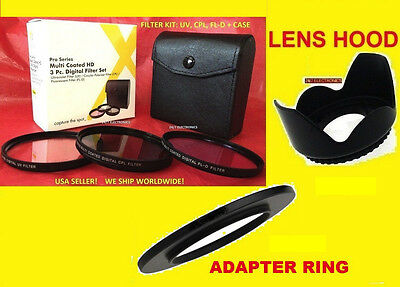 Ring Adapter+filter Kit+lens Hood To Camera Fuji Finepix ...