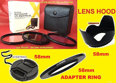 Ring Adapter+ Filter Kit+hood+lens Cap 58mm 4> Camera Fuj...