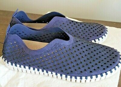 ILSE JACOBSEN Tulip Perforated Slip-On Sneaker Navy Blue Size 39 EU / US 8.5-9