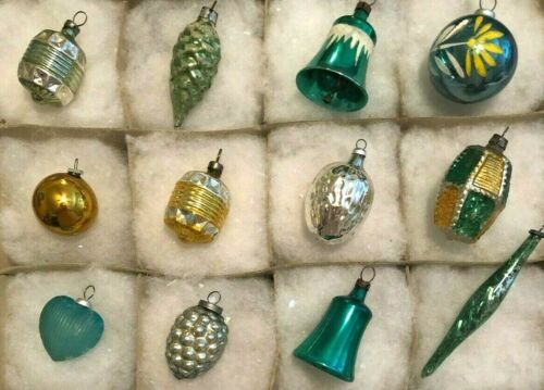 12 Antique Feather Tree Figural Christmas Ornaments 1940