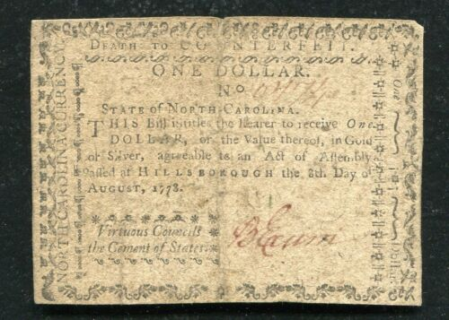 "NC-173b AUGUST 8, 1773 $1 NORTH CAROLINA ""VIRTUOUS"" COLONIAL CURRENCY NOTE"