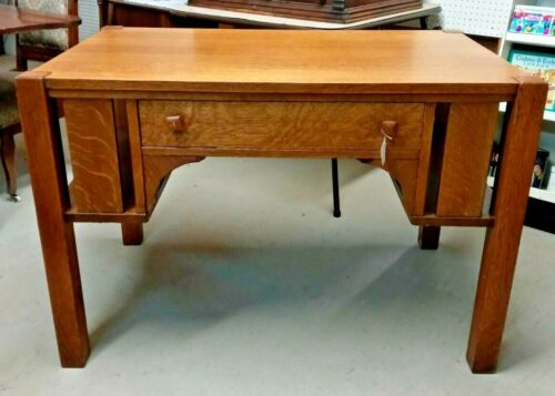 Mission Oak Style Library Desk Table Thick Heavy