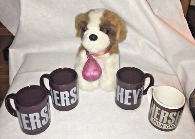 Vintage Hershey Cups Mugs 1894 * Lot of 4 * Stuffed Plush Dog * Milk Chocolate