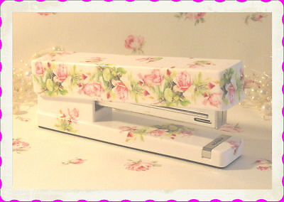 floral STAPLER desk office ROSES PINK FLOWERS shabby Fictitious Pretty room chic