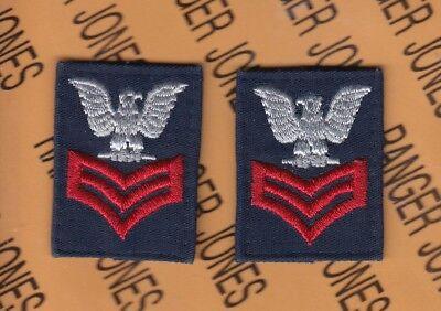 "USCG Coast Guard E-6 Petty Officer 1st Class PO-1 collar rank patch set 1.75"""