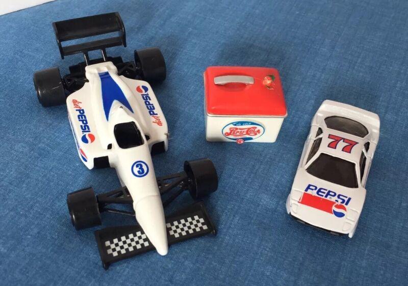 Golden Wheel Diecast DIET PEPSI Indy Car + Race Car 77 Classic Mini Toy Cooler