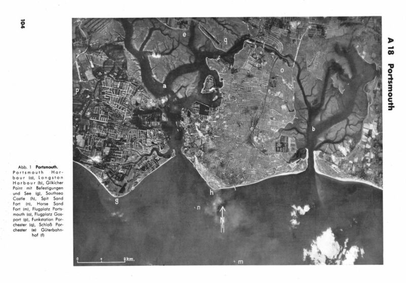 WW2 Luftwaffe bomber pilot's aerial view of Portsmouth Harbour to be used on bombing raids