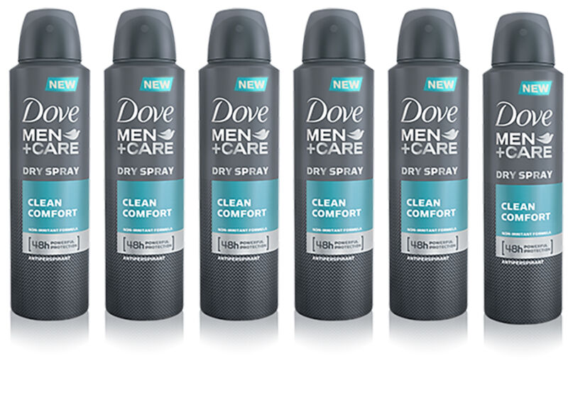 6 x Dove Men Care Clean Comfort Deodorant Spray Anti-Perspirant 150ml