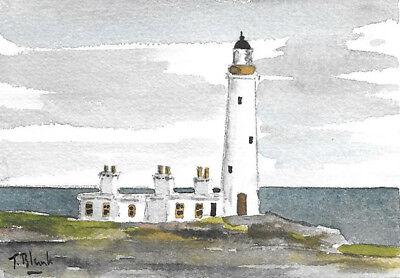 ORIGINAL AQUARELL - Leuchtturm in England.