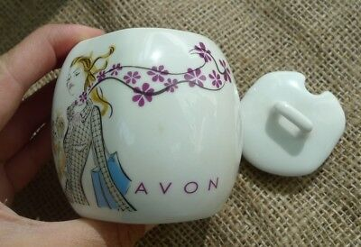 Vintage Pottery AVON White Sugar Basin Bowl with Lid Girl w/ Dog Shopping motive