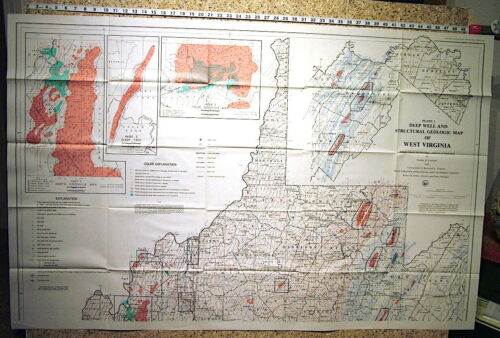 WEST VIRGINIA GEOLOGY - TWO HUGE MAPS SHOWING ENTIRE STATE Many Features 1982