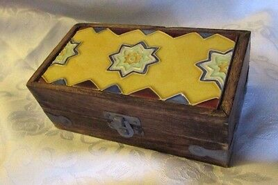 Hand Crafted Wood Jewelry Trinket Stash Box w/Decorative Hand Painted Tile Top