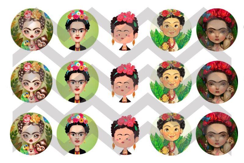 """15-1in. Precut Bottle Cap Images """"FRIDA Kahlo"""